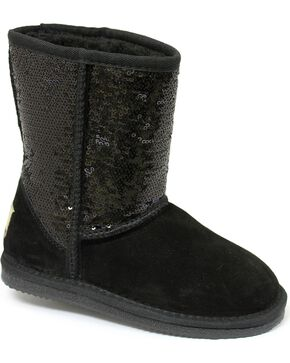 Dije California Girls' Sequin Sheepskin Classic Boots, Black, hi-res