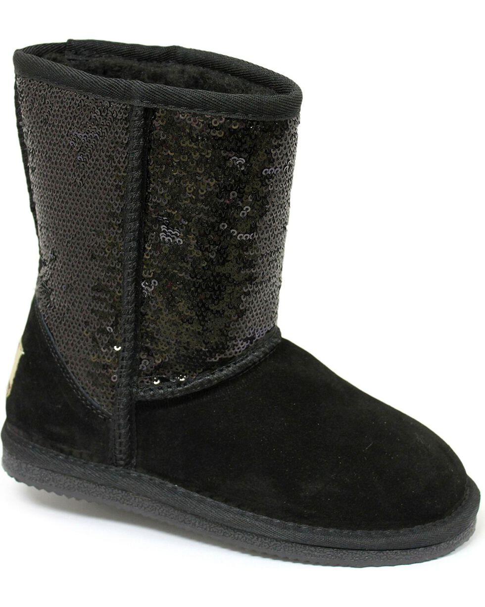 Dije California Girls' Sequin Sheepskin Classic Boots, Black, hi-res