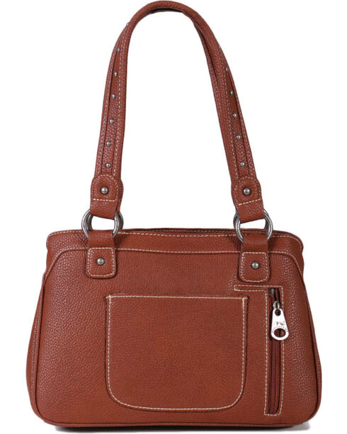 Montana West Women's Built-in Wallet Tooled Messenger Bag , Brown, hi-res