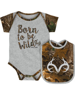 Realtree Infant Girls' Born to be Wild Onesie and Bib Set, Grey, hi-res