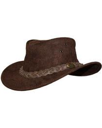 Jacaru Men's Gabba Leather Outback Hat, , hi-res