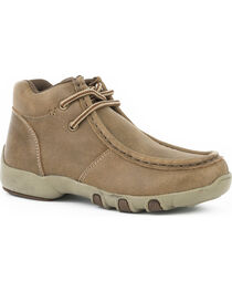 Roper Boys' Tan Vintage Leather Chukka Driving Mocs - Moc Toe, , hi-res