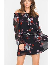 Shyanne Black Off-Shoulder Belted Dress  , , hi-res
