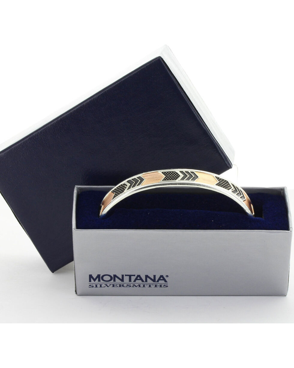 Montana Silversmiths Women's Two Tone Layered Chevrons Cuff Bracelet, No Color, hi-res