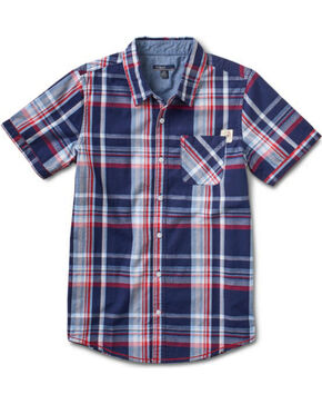 Silver Boys' Plaid Short Sleeve Shirt, Navy, hi-res