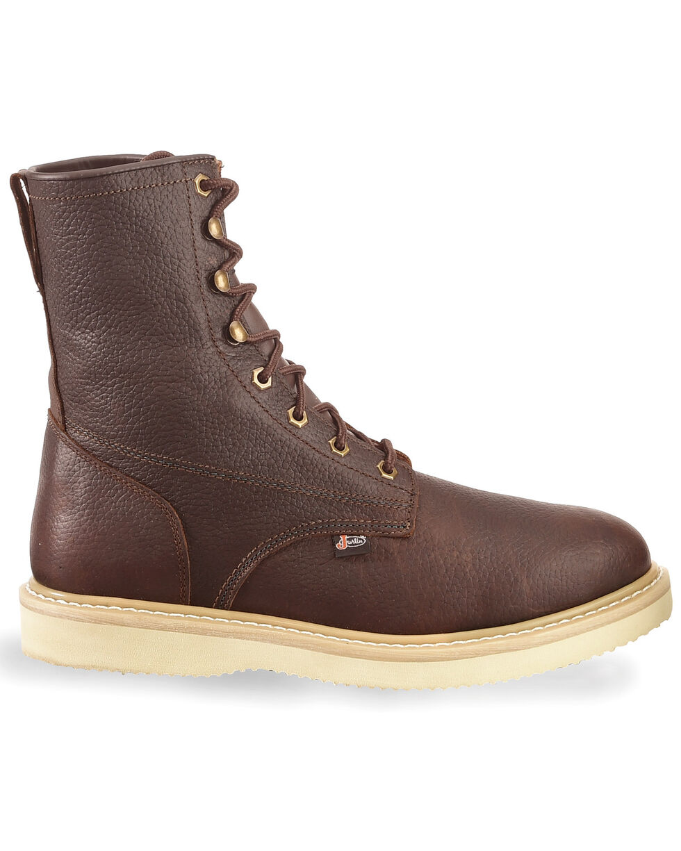 """Justin Men's Wedge 8"""" Lace-Up Work Boots, Tan, hi-res"""