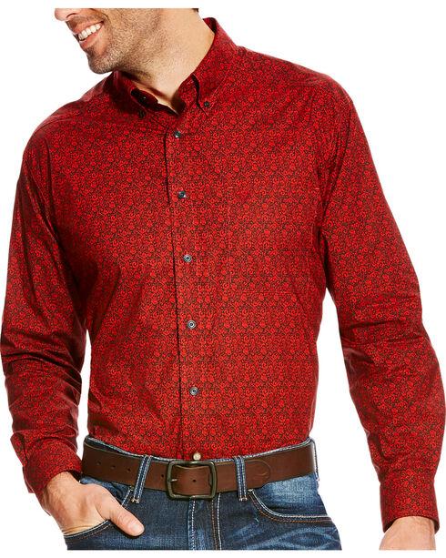 Ariat Men's Blanton Classic Fit Poplin Print Button Down Shirt, Orange, hi-res
