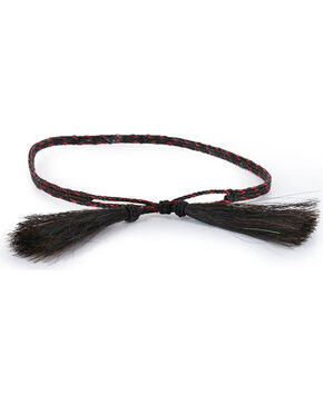 Cody James Horse Hair Braided Hat Band, Black/red, hi-res