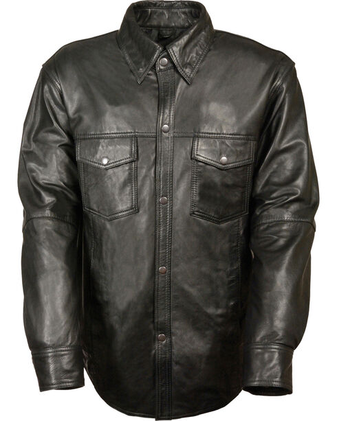 Milwaukee Leather Men's Black Lightweight Leather Shirt - Big 3X, Black, hi-res