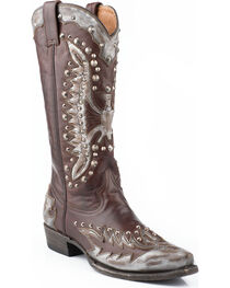 Stetson Women's Studded Eagle Western Boots, Grey, hi-res