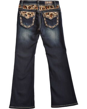 Grace in LA Girls' Cheetah Print Bootcut Jeans, Denim, hi-res