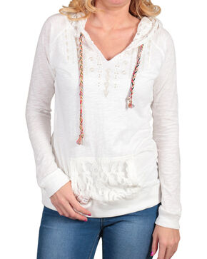 Panhandle Women's Lace Hooded Long Sleeve Shirt, White, hi-res
