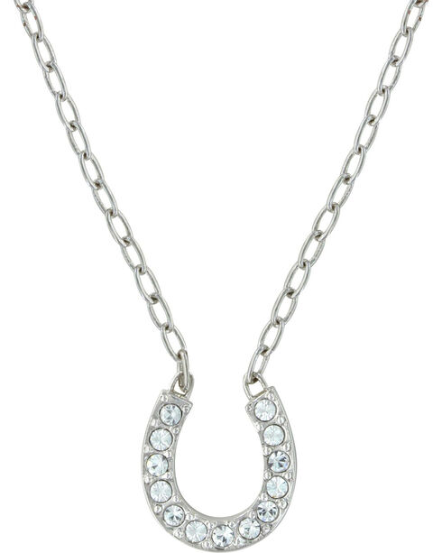 Montana Silversmiths Women's Crystal Clear Lucky Necklace, Silver, hi-res