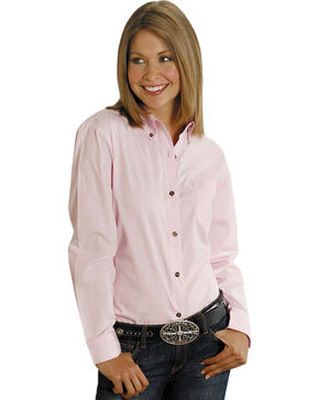 Roper Women's Amarillo Button Down Poplin Long Sleeve Western Shirt, Pink, hi-res