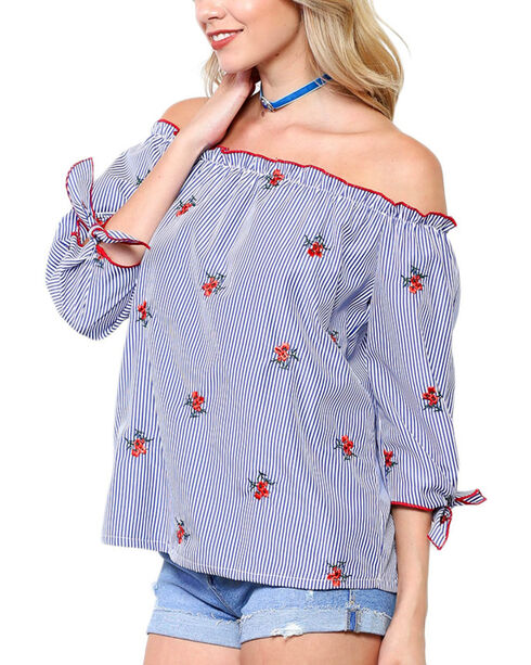 Ces Femme Women's Floral Side Ties Long Sleeve Shirt, Blue, hi-res