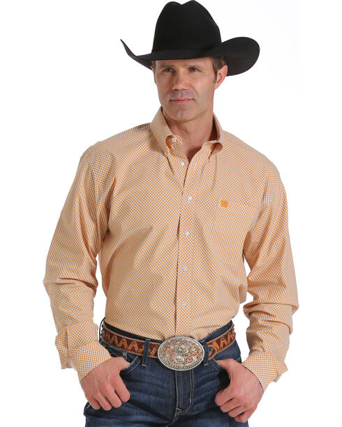 Cinch Men's Orange Single Pocket Long Sleeve Shirt, Orange, hi-res