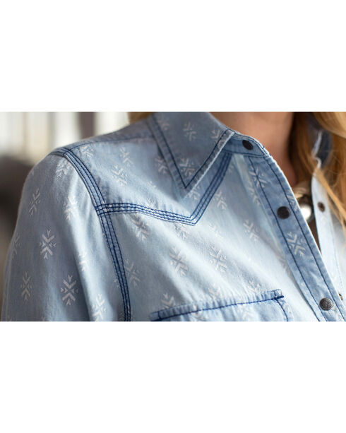 Ryan Michael Women's Geo Print Denim Shirt, Indigo, hi-res