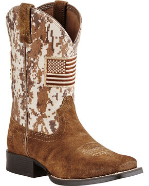 Ariat Kid's Patriot Western Boots, Brown, hi-res
