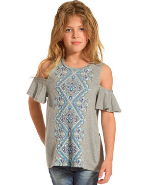Shyanne Girls' Cold Shoulder Short Sleeve Knit Top , Grey, hi-res