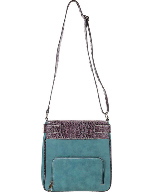 Accessories Plus Concho Cross Messenger Bag , Turquoise, hi-res
