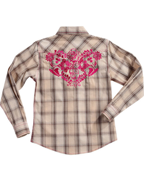 Cowgirl Hardware Girls' Rose Vine Plaid Long Sleeve Shirt, Cream, hi-res