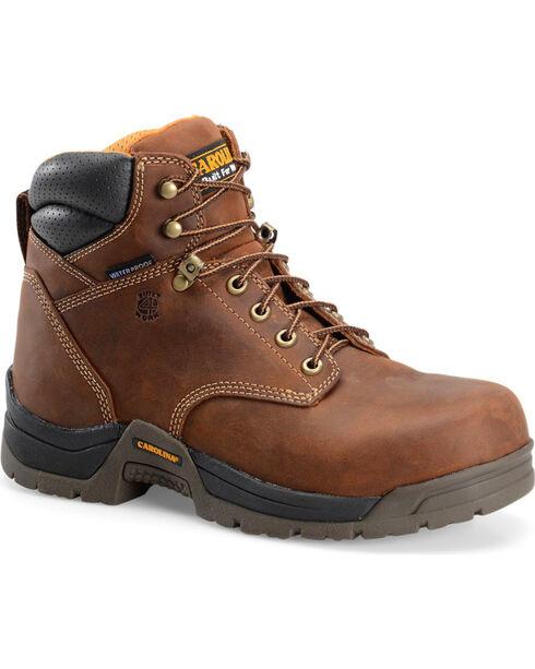 "Carolina Men's 6"" Brown Waterproof Work Boots - Broad Composite Toe, Brown, hi-res"