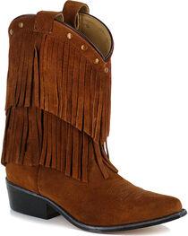 Shyanne® Girls' Fringe Snip Toe Western Boots, , hi-res