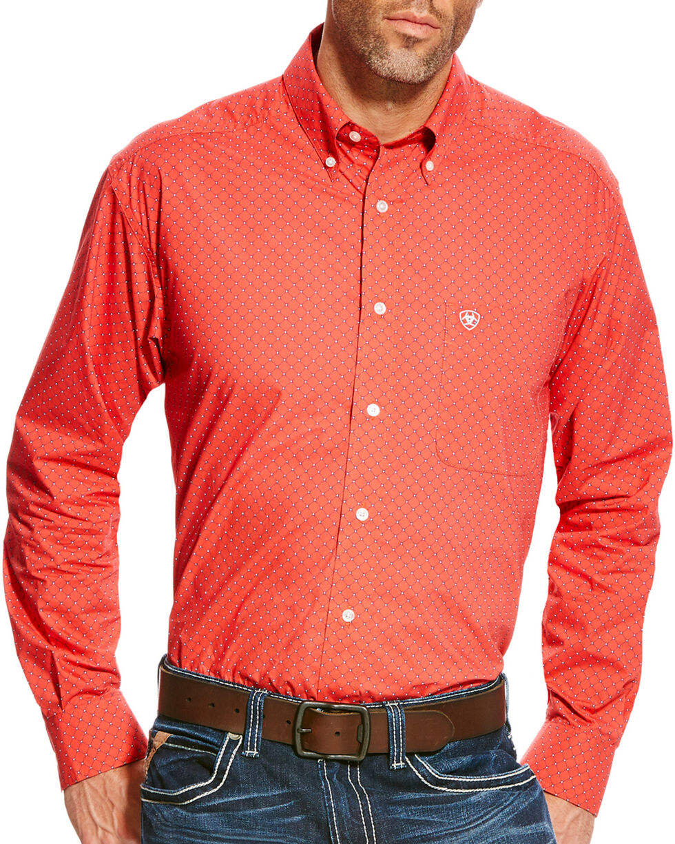 Ariat Men's Alistar Classic Fit Long Sleeve Button Down Shirt, Red, hi-res