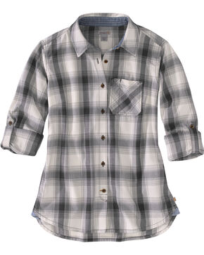 Carhartt Women's Dodson Plaid Long Sleeve Shirt, Black, hi-res