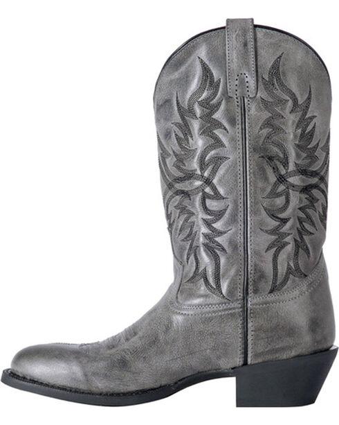 Laredo Men's Harding Grey Waxy Leather Cowboy Boots - Round Toe, Grey, hi-res