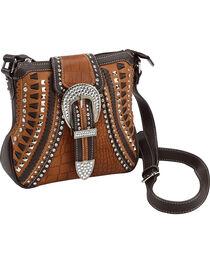 Shyanne Rhinestone Buckle Whipstitch Messenger Bag, , hi-res