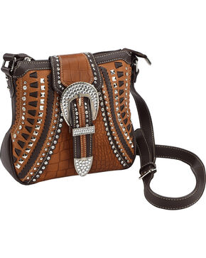 Shyanne Rhinestone Buckle Whipstitch Messenger Bag, Brown, hi-res