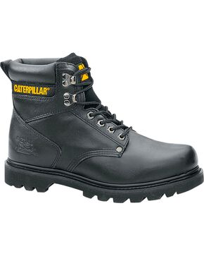 "Caterpillar 6"" Second Shift Lace-Up Work Boots - Round Toe, Black, hi-res"