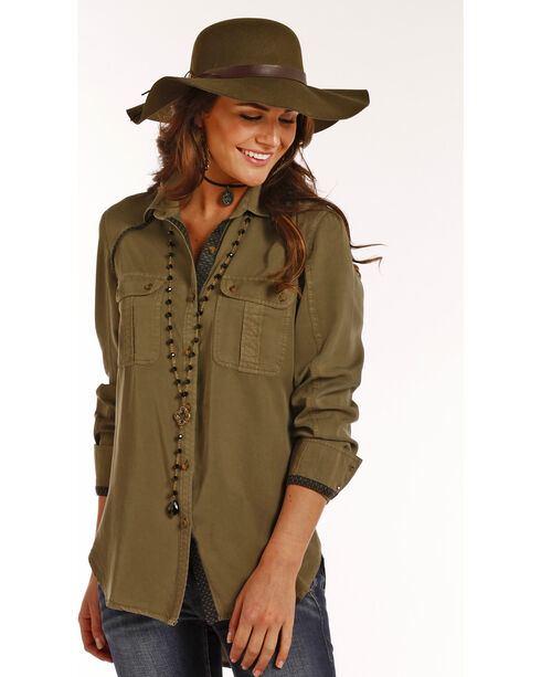 Rock & Roll Cowgirl Women's Solid Twill Metallic Trim Long Sleeve Shirt, Olive, hi-res