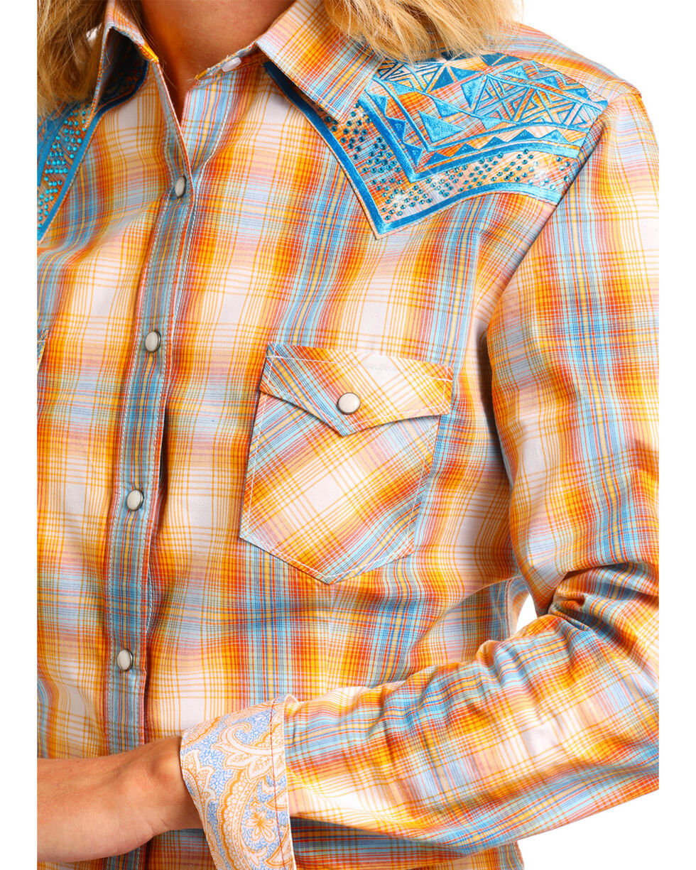 Rough Stock by Panhandle Women's Embroidered Plaid Long Sleeve Western Shirt, Yellow, hi-res