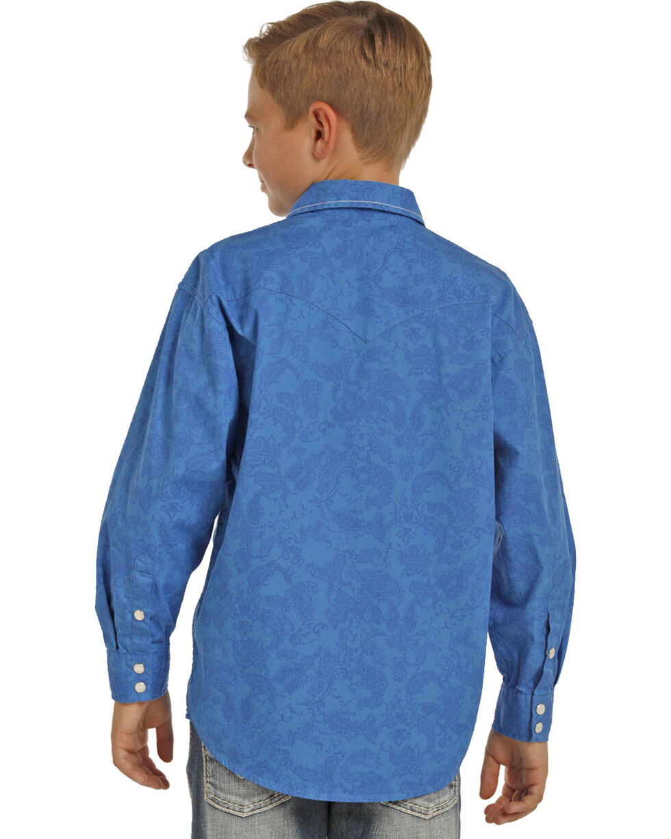 Rock & Roll Cowboy Boys' Blue Paisley Print Long Sleeve Shirt , Blue, hi-res