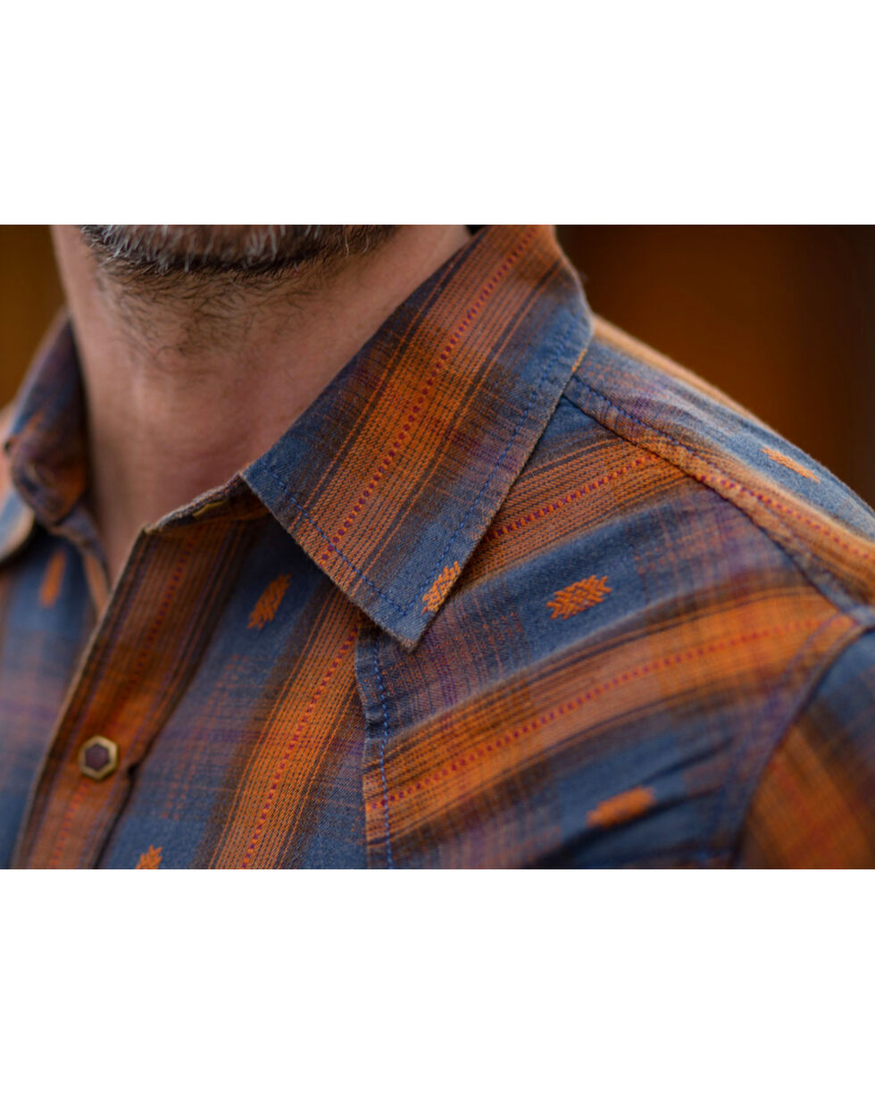 Ryan Michael Men's Ombre Dobby Plaid Shirt , Brown, hi-res