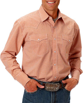 Roper Men's Check Printed Long Sleeve Shirt, Orange, hi-res