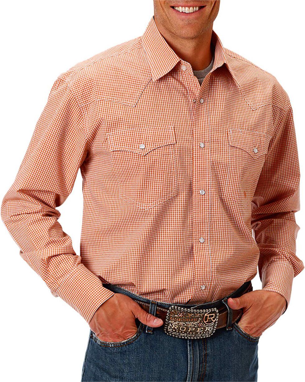 Roper Men's Check Printed Long Sleeve Shirt, Orange, hi-res