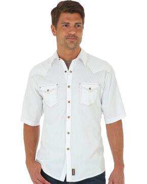 Wrangler Men's Retro Solid Short Sleeve Shirt, White, hi-res