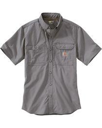 Carhartt Men's Charcoal Grey Force Ridgefield Solid Long-Sleeve Shirt - Big and Tall, , hi-res