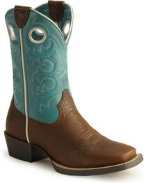 Ariat Boys' Crossfire Cowboy Boots - Square Toe, Brown, hi-res