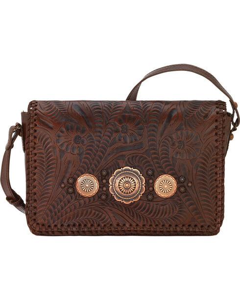 American West Women's Lariat Love Crossbody Bag/Wallet, Chestnut, hi-res