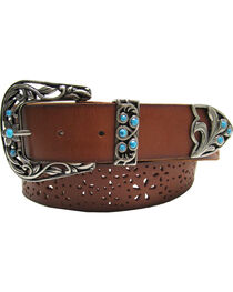 AndWest Women's Three-Piece Perforated Belt, , hi-res