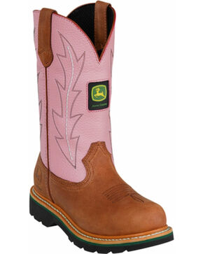 John Deere Crazyhorse Pink Cowgirl Boots - Round Toe, Tan, hi-res