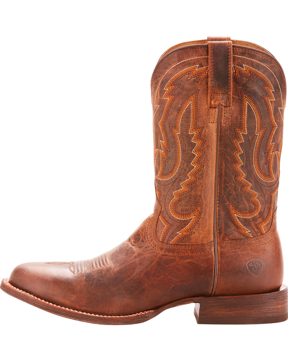 Ariat Men's Circuit Competitor Weathered Tan Performance Cowboy Boots - Round Toe, Tan, hi-res