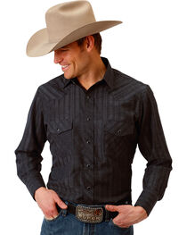 Roper Men's Black Western Tone On Tone Snap Shirt , , hi-res