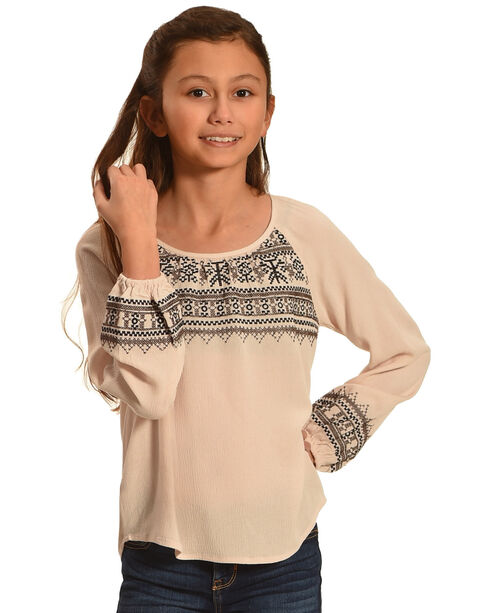 Miss Me Girls' Taupe Embroidered Long Sleeve Top , Taupe, hi-res