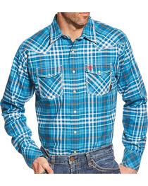 Ariat Men's Toledo Plaid Long Sleeve Flame Resistant Shirt, Turquoise Plaid, hi-res