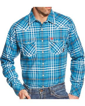 Ariat Men's Toledo Plaid Long Sleeve Flame Resistant Shirt, Turquoise Plaid, hi-res